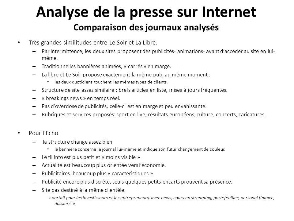 Analyse de la presse sur Internet Comparaison des journaux analysés Très grandes similitudes entre Le Soir et La Libre.