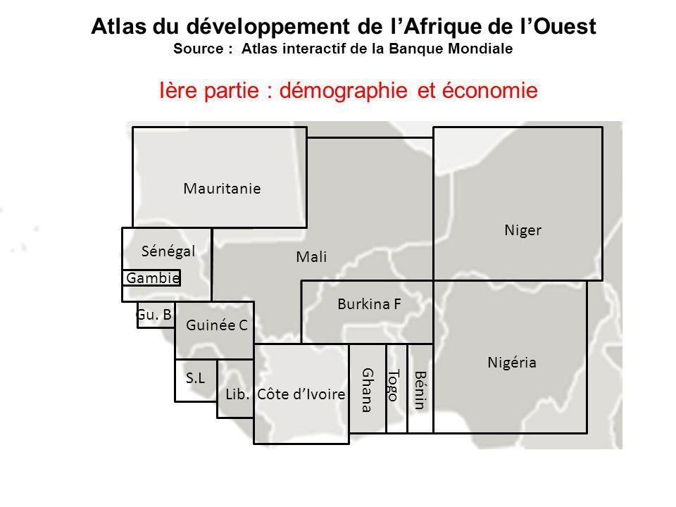 Nigéria Mauritanie Gambie Guinée C Ghana Sénégal Côte dIvoire Burkina F Niger Mali Bénin Togo Gu. B Lib. S.L Atlas du développement de lAfrique de lOu