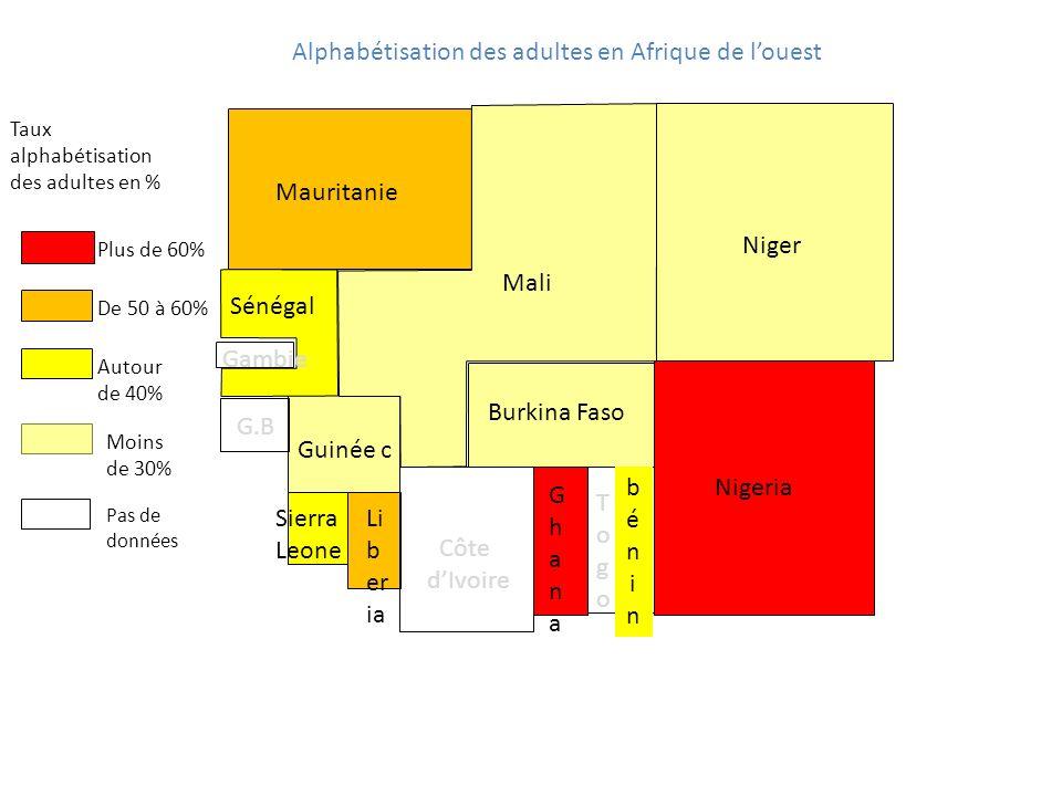 Alphabétisation des adultes en Afrique de louest Taux alphabétisation des adultes en % Mauritanie Mali Burkina Faso Nigeria Niger Guinée c GhanaGhana Côte dIvoire Sénégal TogoTogo béninbénin Li b er ia Gambie Sierra Leone G.B Moins de 30% Autour de 40% De 50 à 60% Plus de 60% Pas de données