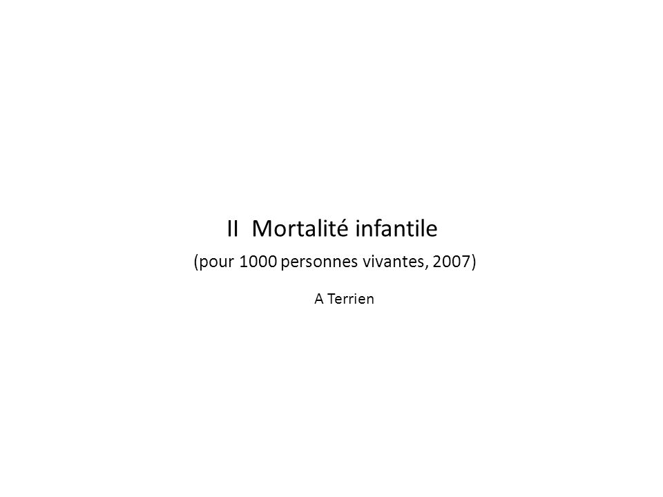 II Mortalité infantile (pour 1000 personnes vivantes, 2007) A Terrien