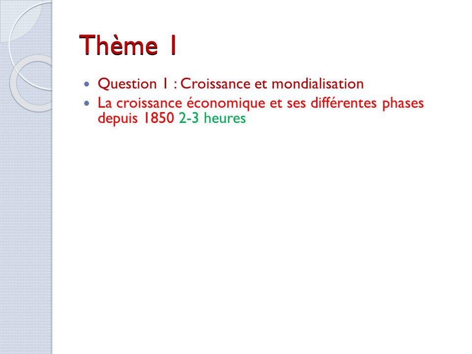Thème 1 Question 1 : Croissance et mondialisation La croissance économique et ses différentes phases depuis 1850 2-3 heures Question de longue durée.