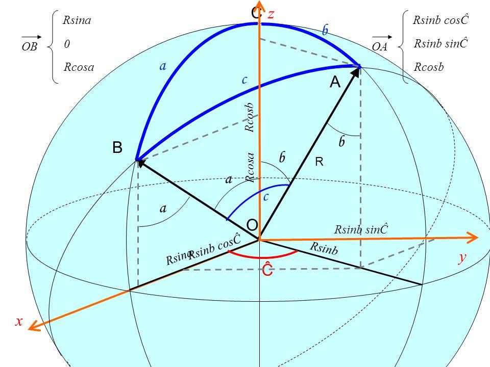 A B C c a b c R Ĉ O x y z a b R s i n b OA Rsinb cosĈ Rsinb sinĈ Rcosb OB Rsina 0 Rcosa a b R s i n b c o s Ĉ Rsinb sinĈ R c o s b R s i n a R c o s a