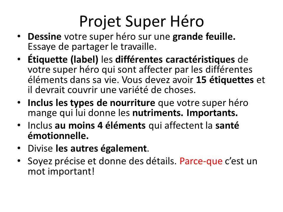 Projet Super Héro Dessine votre super héro sur une grande feuille. Essaye de partager le travaille. Étiquette (label) les différentes caractéristiques