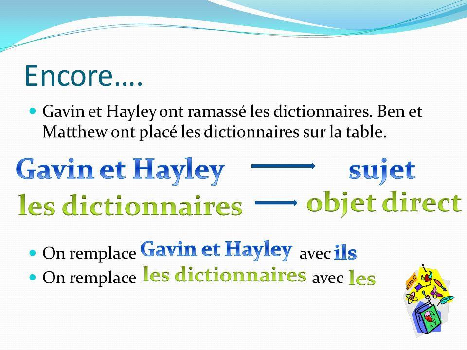 Encore…. Gavin et Hayley ont ramassé les dictionnaires. Ben et Matthew ont placé les dictionnaires sur la table. On remplace avec