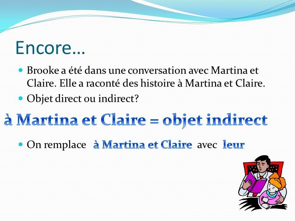 Encore… Brooke a été dans une conversation avec Martina et Claire. Elle a raconté des histoire à Martina et Claire. Objet direct ou indirect? On rempl