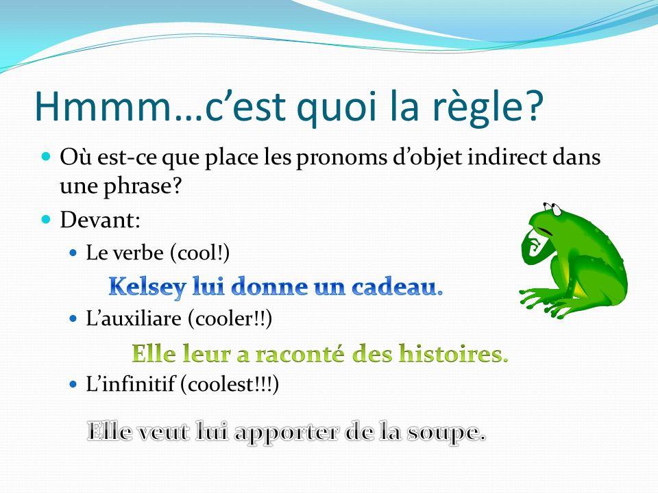 Hmmm…cest quoi la règle? Où est-ce que place les pronoms dobjet indirect dans une phrase? Devant: Le verbe (cool!) Lauxiliare (cooler!!) Linfinitif (c