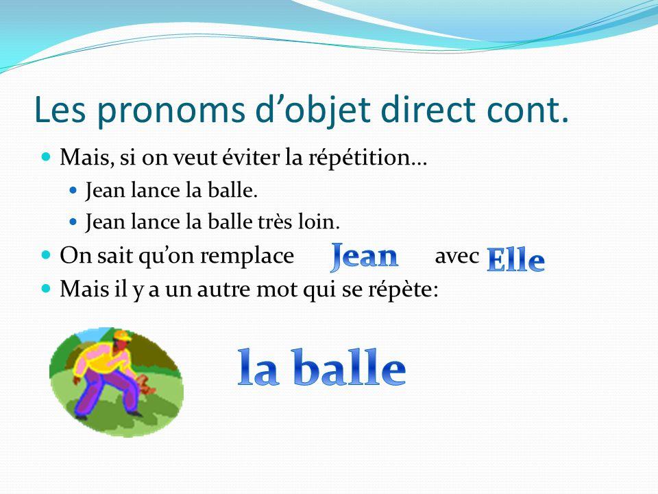 Les pronoms dobjet direct cont.Donc… Est-ce que est le sujet de la phrase.