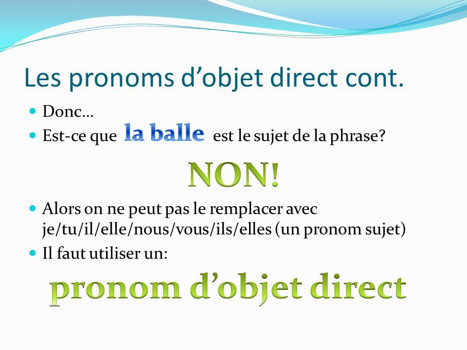 Les pronoms dobjet direct cont. Donc… Est-ce que est le sujet de la phrase? Alors on ne peut pas le remplacer avec je/tu/il/elle/nous/vous/ils/elles (