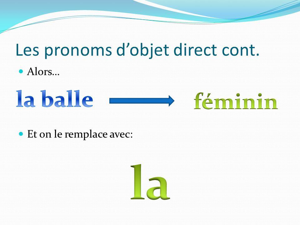 Les pronoms dobjet direct cont. Alors… Et on le remplace avec: