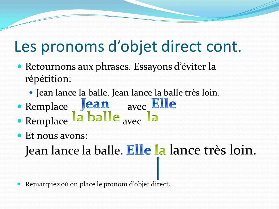 Et cest ça la différence… Entre un objet direct et indirect, le mot clé: Et si tu as un mot clé, tu as un objet indirect!