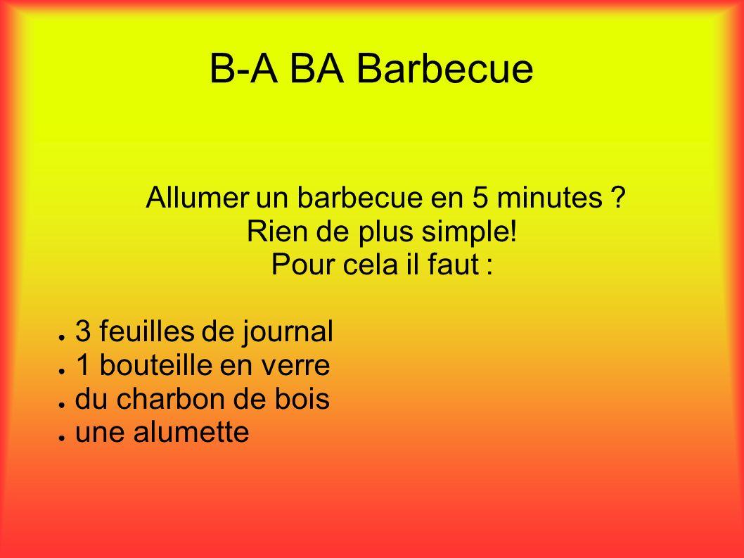 B-A BA Barbecue Allumer un barbecue en 5 minutes ? Rien de plus simple! Pour cela il faut : 3 feuilles de journal 1 bouteille en verre du charbon de b