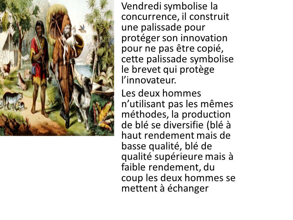 Vendredi symbolise la concurrence, il construit une palissade pour protéger son innovation pour ne pas être copié, cette palissade symbolise le brevet qui protège linnovateur.