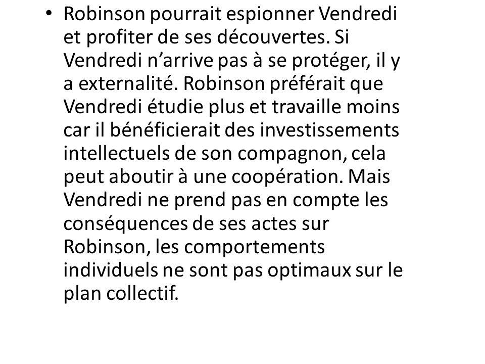 Robinson pourrait espionner Vendredi et profiter de ses découvertes.