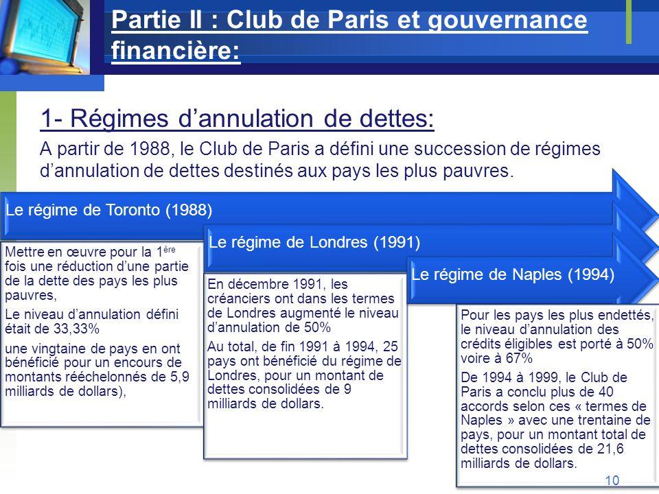 Partie II : Club de Paris et gouvernance financière: 1- Régimes dannulation de dettes: A partir de 1988, le Club de Paris a défini une succession de r