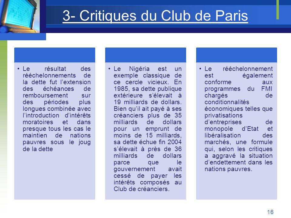 3- Critiques du Club de Paris Le résultat des rééchelonnements de la dette fut lextension des échéances de remboursement sur des périodes plus longues