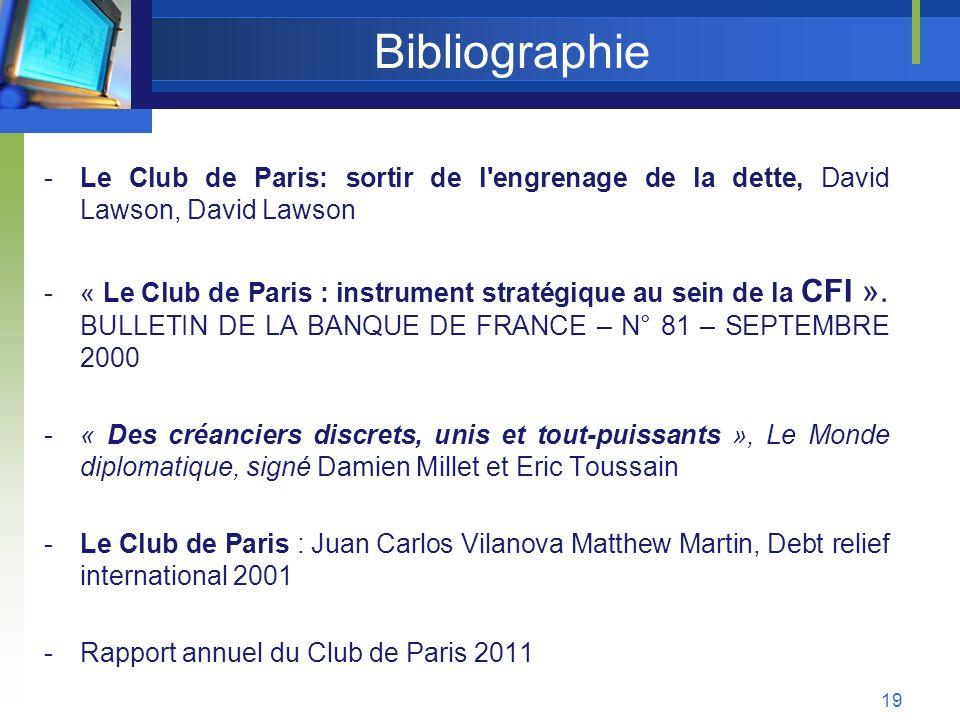 Bibliographie -Le Club de Paris: sortir de l'engrenage de la dette, David Lawson, David Lawson -« Le Club de Paris : instrument stratégique au sein de