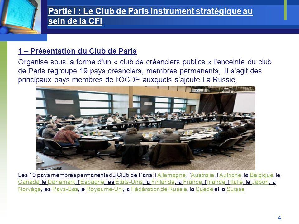 Partie I : Le Club de Paris instrument stratégique au sein de la CFI 1 – Présentation du Club de Paris Organisé sous la forme dun « club de créanciers