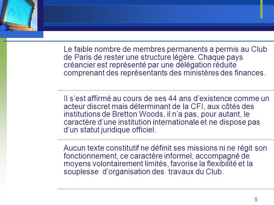 Le faible nombre de membres permanents a permis au Club de Paris de rester une structure légère. Chaque pays créancier est représenté par une délégati