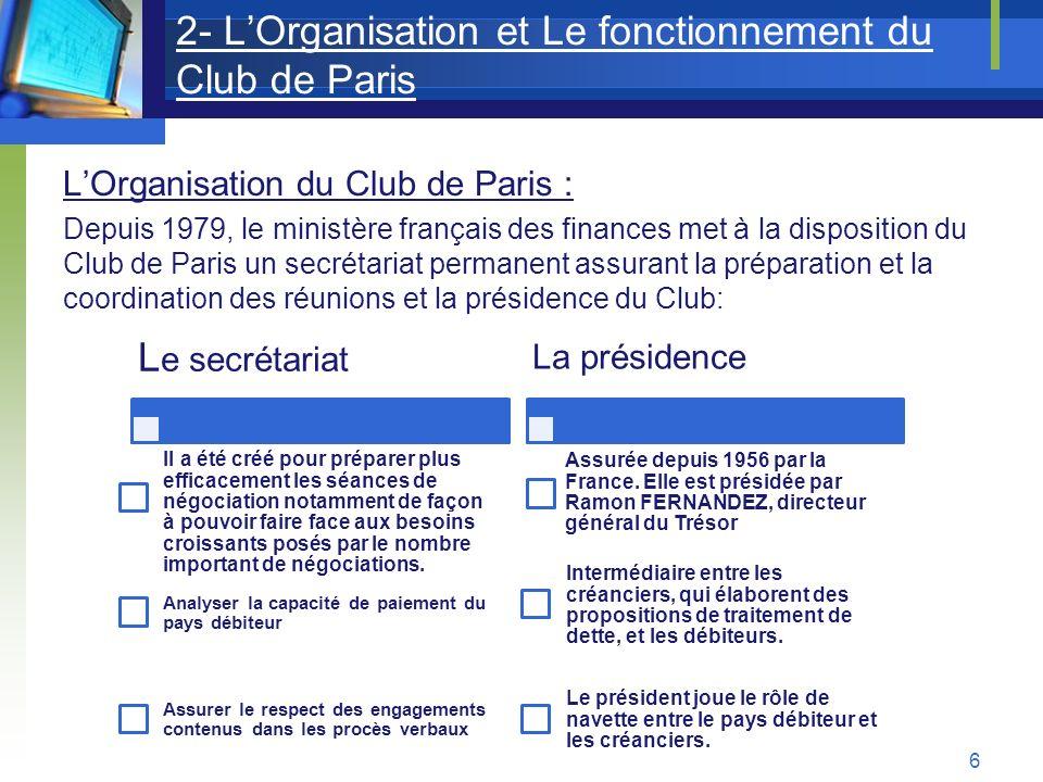 2- LOrganisation et Le fonctionnement du Club de Paris LOrganisation du Club de Paris : Depuis 1979, le ministère français des finances met à la dispo
