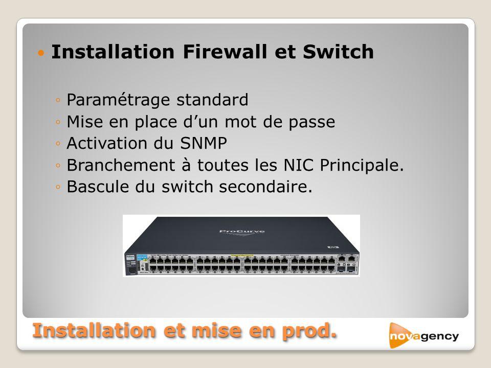 Installation et mise en prod. Installation Firewall et Switch Paramétrage standard Mise en place dun mot de passe Activation du SNMP Branchement à tou
