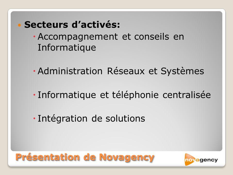 Secteurs dactivés: Accompagnement et conseils en Informatique Administration Réseaux et Systèmes Informatique et téléphonie centralisée Intégration de