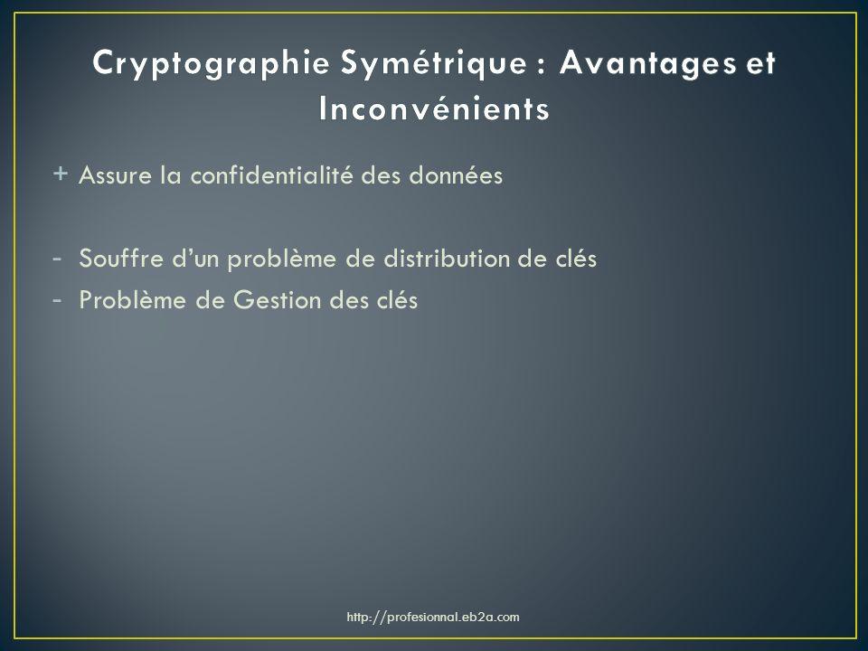 + Assure la confidentialité des données - Souffre dun problème de distribution de clés - Problème de Gestion des clés http://profesionnal.eb2a.com