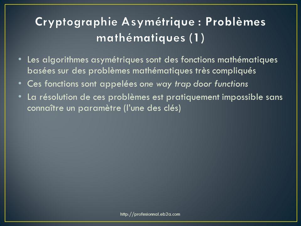 Les algorithmes asymétriques sont des fonctions mathématiques basées sur des problèmes mathématiques très compliqués Ces fonctions sont appelées one w