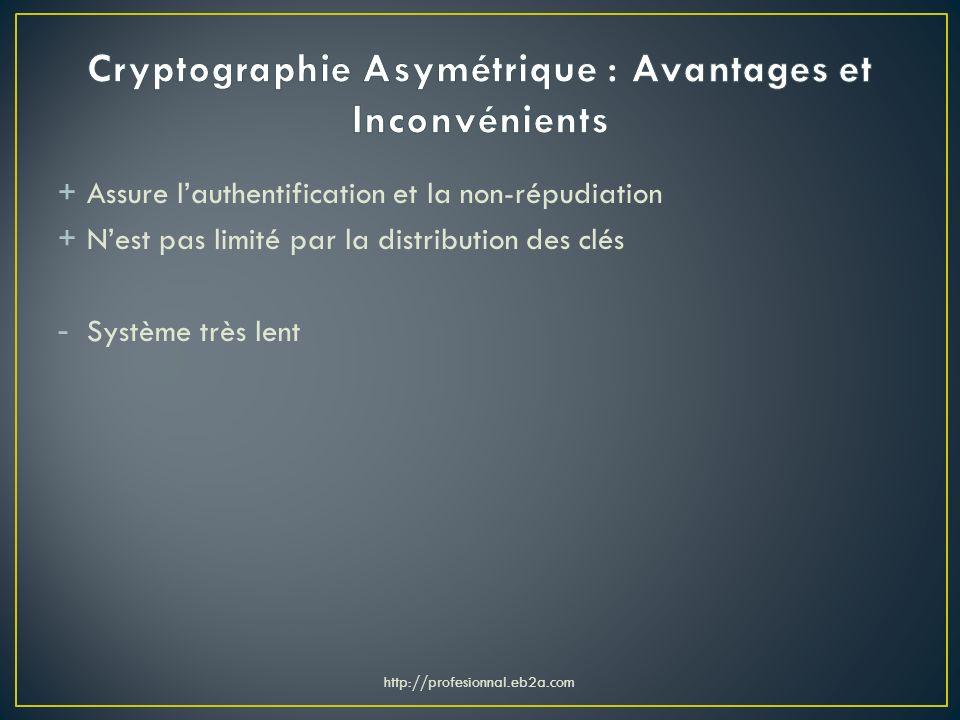 + Assure lauthentification et la non-répudiation + Nest pas limité par la distribution des clés - Système très lent http://profesionnal.eb2a.com