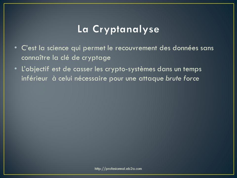 Cest la science qui permet le recouvrement des données sans connaître la clé de cryptage Lobjectif est de casser les crypto-systèmes dans un temps inf