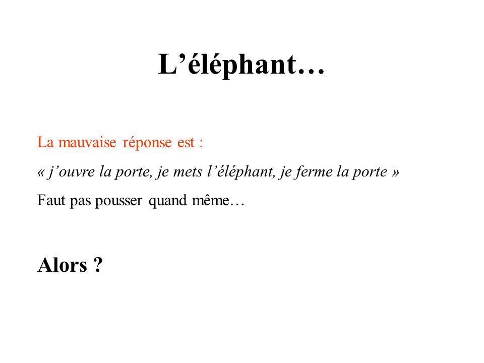 Léléphant… La mauvaise réponse est : « jouvre la porte, je mets léléphant, je ferme la porte » Faut pas pousser quand même… Alors ?