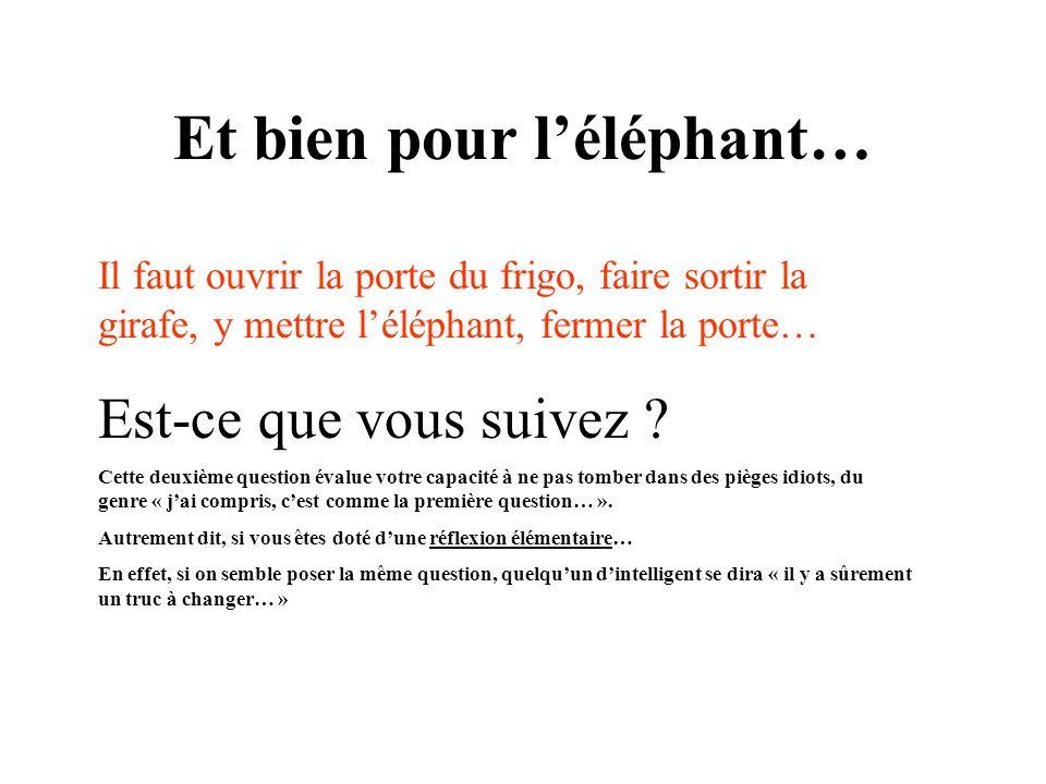 Et bien pour léléphant… Il faut ouvrir la porte du frigo, faire sortir la girafe, y mettre léléphant, fermer la porte… Est-ce que vous suivez ? Cette