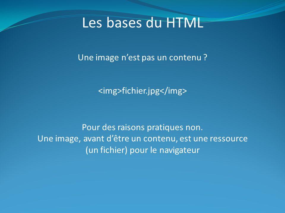 Les bases du HTML Une image nest pas un contenu .fichier.jpg Pour des raisons pratiques non.