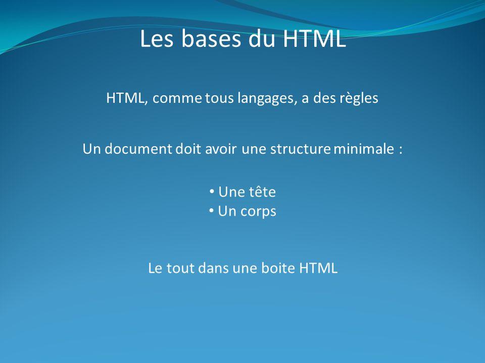 Les bases du HTML HTML, comme tous langages, a des règles Un document doit avoir une structure minimale : Une tête Un corps Le tout dans une boite HTML