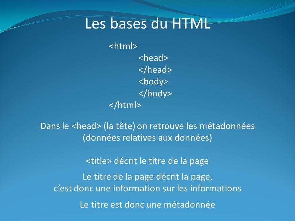 Les bases du HTML Dans le (la tête) on retrouve les métadonnées (données relatives aux données) décrit le titre de la page Le titre de la page décrit la page, cest donc une information sur les informations Le titre est donc une métadonnée