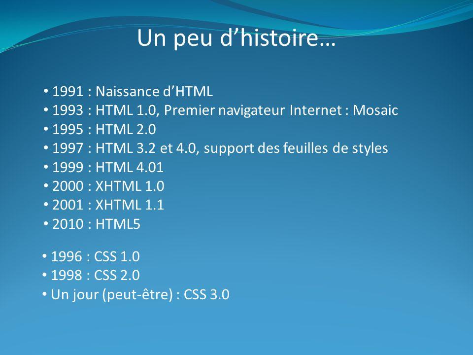 Un peu dhistoire… 1991 : Naissance dHTML 1993 : HTML 1.0, Premier navigateur Internet : Mosaic 1995 : HTML 2.0 1997 : HTML 3.2 et 4.0, support des feuilles de styles 1999 : HTML 4.01 2000 : XHTML 1.0 2001 : XHTML 1.1 2010 : HTML5 1996 : CSS 1.0 1998 : CSS 2.0 Un jour (peut-être) : CSS 3.0