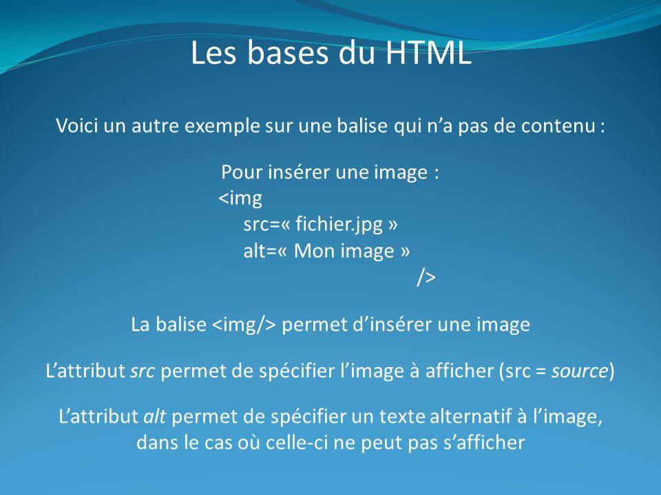 Les bases du HTML Voici un autre exemple sur une balise qui na pas de contenu : Pour insérer une image : <img src=« fichier.jpg » alt=« Mon image » /> La balise permet dinsérer une image Lattribut src permet de spécifier limage à afficher (src = source) Lattribut alt permet de spécifier un texte alternatif à limage, dans le cas où celle-ci ne peut pas safficher