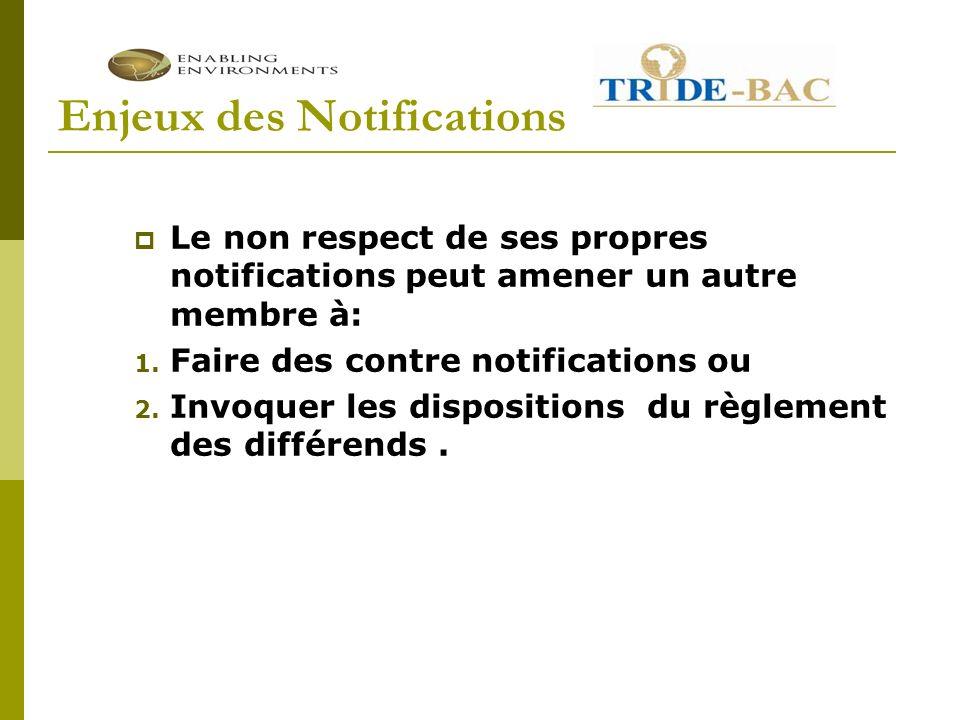 Enjeux des Notifications Le non respect de ses propres notifications peut amener un autre membre à: 1.