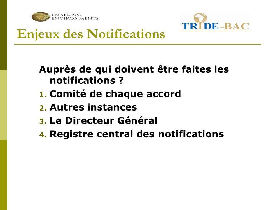 Enjeux des Notifications Auprès de qui doivent être faites les notifications .