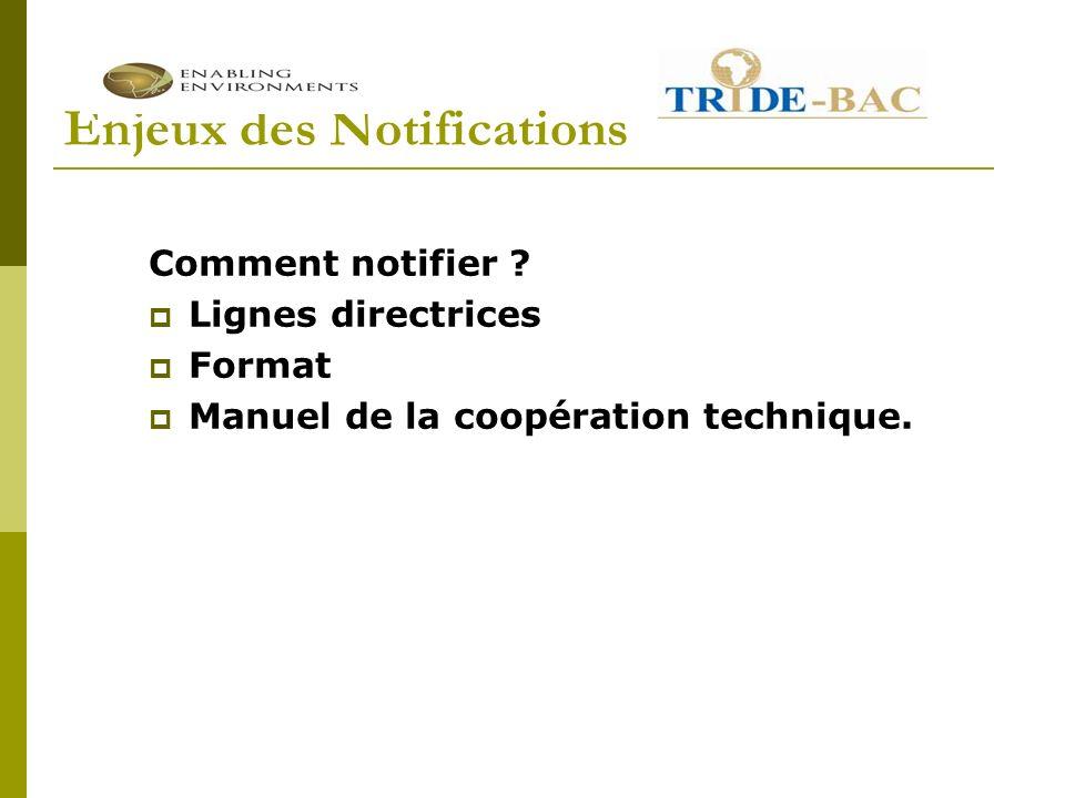 Enjeux des Notifications Comment notifier ? Lignes directrices Format Manuel de la coopération technique.