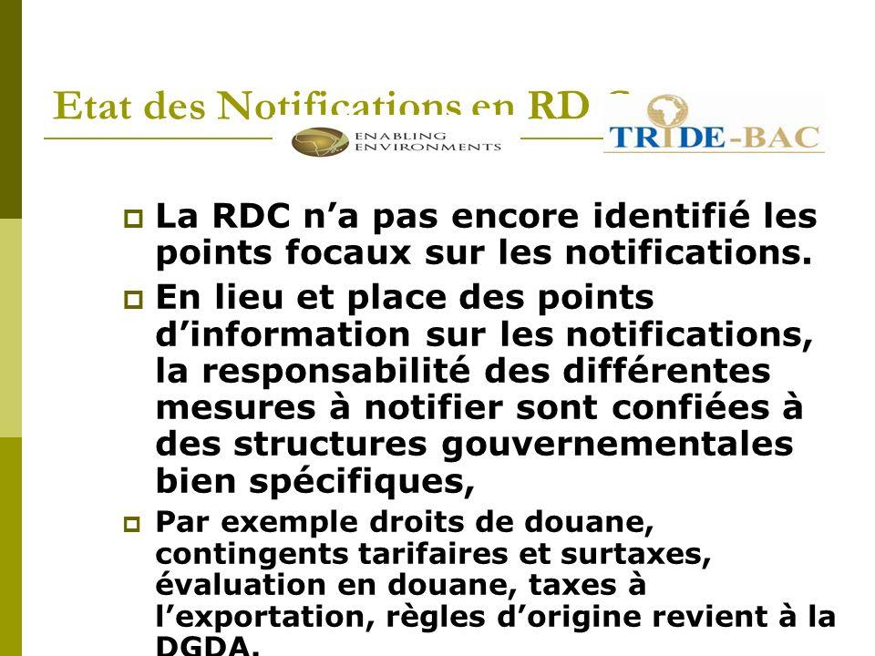 Etat des Notifications en RD Congo La RDC na pas encore identifié les points focaux sur les notifications.