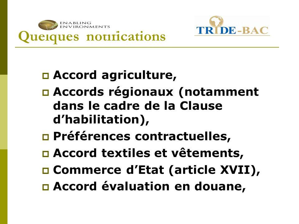 Quelques notifications Accord agriculture, Accords régionaux (notamment dans le cadre de la Clause dhabilitation), Préférences contractuelles, Accord textiles et vêtements, Commerce dEtat (article XVII), Accord évaluation en douane,