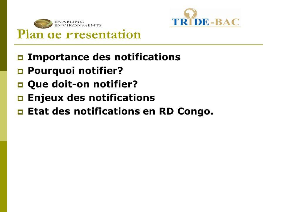 Plan de Présentation Importance des notifications Pourquoi notifier.