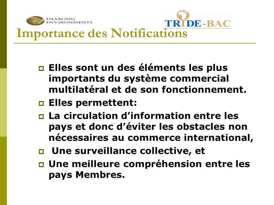 Importance des Notifications Elles sont un des éléments les plus importants du système commercial multilatéral et de son fonctionnement.