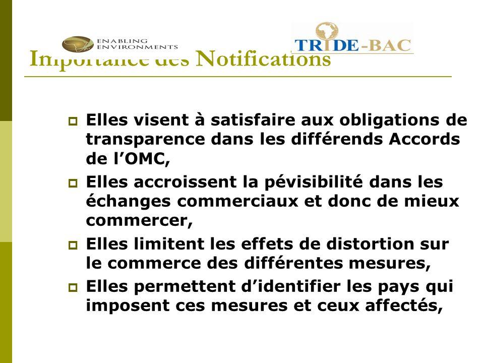Etat des Notifications en RD Congo Décision ministérielle prise à Marrakech en Avril 1994 = obligations de tout notifier, Obligations assez mal respectées en RD Congo, Synonyme dun protectionnisme larvé/dissimulé.