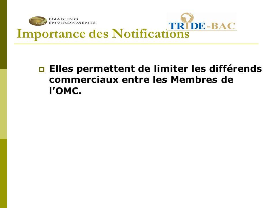Importance des Notifications Elles permettent de limiter les différends commerciaux entre les Membres de lOMC.