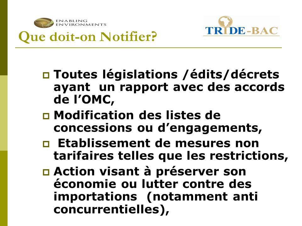 Que doit-on Notifier? Toutes législations /édits/décrets ayant un rapport avec des accords de lOMC, Modification des listes de concessions ou dengagem