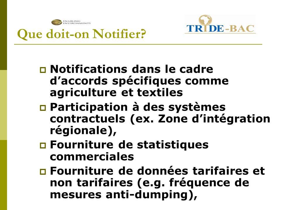 Que doit-on Notifier? Notifications dans le cadre daccords spécifiques comme agriculture et textiles Participation à des systèmes contractuels (ex. Zo