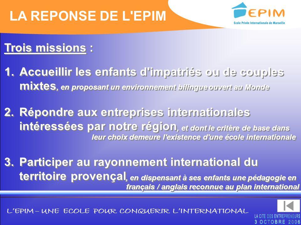 LEPIM – UNE ECOLE POUR CONQUERIR LINTERNATIONAL LA REPONSE DE L'EPIM 2.Répondre aux entreprises internationales intéressées par notre région 1.Accueil