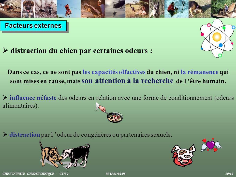 Facteurs externes distraction du chien par certaines odeurs : influence néfaste des odeurs en relation avec une forme de conditionnement (odeurs alime