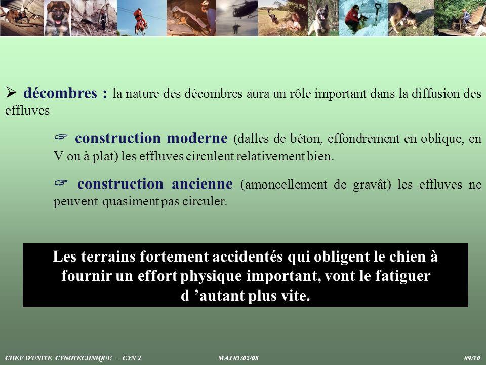 Les terrains fortement accidentés qui obligent le chien à fournir un effort physique important, vont le fatiguer d autant plus vite. décombres : la na